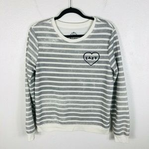 Women's Size Large Striped Lazy Heart Sweater